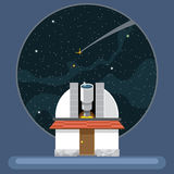 A new telescope with antennas and view to space and stars Royalty Free Stock Image