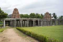 New temple towers inside old ruins at Gingee Fort. Royalty Free Stock Photo