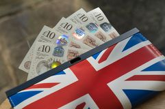 New ten pound notes in union jack purse. English money in union jack purse. The new ten pound notes, known as tenners released in 2017. The brexit negotiation Royalty Free Stock Photos