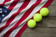 New tennis balls with an American flag Stock Photography