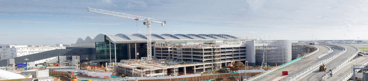 New Terminal 2 at Heathrow Airport. Panorama showing the final work being carried out on the £2.5 billion Terminal 2 (Queens Terminal )at Heathrow Airport which Stock Photography