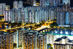 New territories district in Hong Kong at night Royalty Free Stock Image