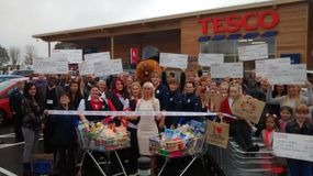 The new Tesco Store in Little Lever is opened by the store manager Royalty Free Stock Image