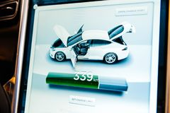New Tesla Model S dashboard computer display screen with informa Stock Images
