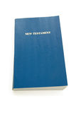 New testament. With blue cover isolated over white Stock Photos