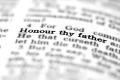 New Testament Scripture Quote Honor Thy Father Royalty Free Stock Photos
