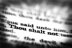 New Testament Scripture Quote Thou Shalt Not Stock Photography