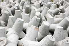 New tetrapods. Tetrapods is concrete that is used as a breaking wave Stock Image