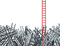 New Thinking. As an innovative good idea  and solution to a business problem as a red ladder standing out from a group of confused as grey ladders in Royalty Free Stock Photos