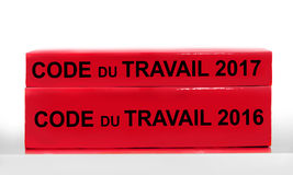 New thinner French labor code book, labor code law reform in France concept Stock Images