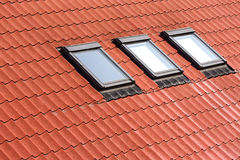 New tiled roof with skylights Royalty Free Stock Photography