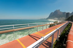 New Tim Maia Bicycle Path in Rio de Janeiro. Rio de Janeiro, Brazil - April 22, 2016: The new Tim Maia bike path along Avenida Niemeyer connects Leblon with Royalty Free Stock Images
