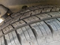 New tire on all terrain car  close up shot. On natural light Stock Photo