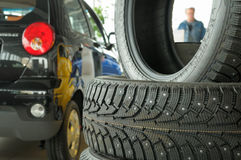 New tire casing. Tire casing with studs retention while delivering optimum traction on ice Royalty Free Stock Images