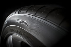 New tire from side with outside text. With rim Royalty Free Stock Photography