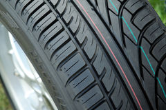 New tire tread. With visible markings Royalty Free Stock Photography