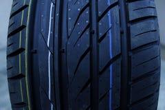New tire tread. Tread of new summer tire Stock Photo