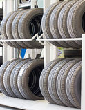 New Tires On Racks. Royalty Free Stock Photography