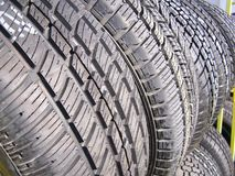 New Tires for Sale. New tires assorted sizes and assorted brands on display and ready for sale Stock Photo