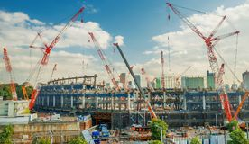 Tokyo Olympic Stadium. New Tokyo National Stadium under construction in Shinjuku District for 2020 Summer Olympic Games Royalty Free Stock Photos