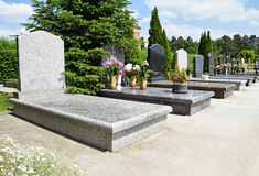 New tombstones in the cemetery Stock Image