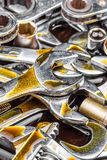 New tools wrenches with motor oil stains Royalty Free Stock Photography