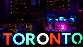 The new Toronto sign celebrating the PanAm games stock footage