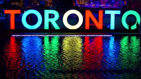 The new Toronto sign celebrating the PanAm games stock video footage