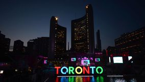 The new Toronto sign in Nathan Phillips Square celebrating the PanAm games stock footage