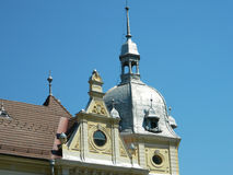 New town hall in Brasov, Romania. Photo of the new town hall with it's architecture detail beeing the right side dome Stock Photo