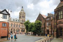 Town Hall viewed from Werburgh. Chester. England. The new Town Hall building officially opened in 1869 after a fire burnt down the old one built in 1698 Royalty Free Stock Photos