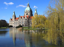 New Town Hall Building Rathaus with reflections Stock Images