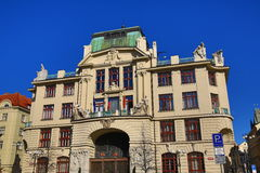 New Town Hall – City of Prague at the Mariánské square, the architecture of the old houses, Old Town, Prague, Czech Republic Stock Image