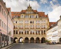 New town hall of Görlitz. GOERLITZ, GERMANY - AUGUST 23: The new town hall of Goerlitz, Germany on August 23, 2016. The historic town of Goerlitz is often royalty free stock photos