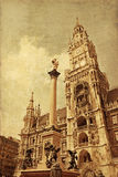 New Town hall with Marian column at Marienplatz (Mary's Square), Stock Images