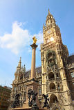 New Town hall with Marian column at Marienplatz (Mary's Square), Stock Photography