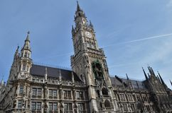 New town hall at Marienplatz in Munich. With blue sky Royalty Free Stock Images