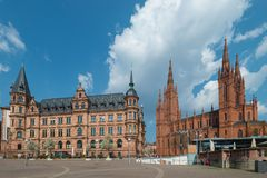 New Town Hall and Market Church in Wiesbaden royalty free stock photo