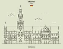 New Town Hall in Munich, Germany. Landmark icon royalty free illustration