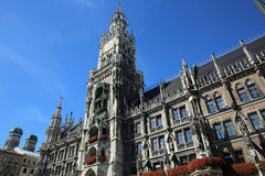 New Town Hall. Munich. New Town Hall and Liebfrauenkirche at Marienplatz in Munich. Germany Stock Photo