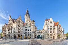 New town hall Neues Rathaus in Leipzig. View on New town hall Neues Rathaus from Burgplatz square in Leipzig, Saxony, Germany Royalty Free Stock Photo