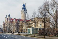 New Town Hall. The seat of the Leipzig city administration since 1905, designed by Hugo Licht in the style of historicism. The main tower is 114.8 meters high Stock Image
