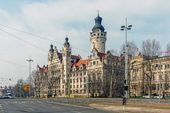 New Town Hall. The seat of the Leipzig city administration since 1905, designed by Hugo Licht in the style of historicism. The main tower is 114.8 meters high stock photo