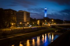 New Town Hall in Ostrava illumination in night. With the 86-meter high tower this is the tallest town hall in the country. Stock Photography