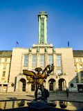 The New Town Hall of Ostrava and icarus sculpture in Czechia. The New Town Hall of Ostrava, the largest town hall the Czech Republic. Modern architectre style Royalty Free Stock Image