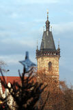 New Town Hall tower at old town of Prague at winter Royalty Free Stock Photo