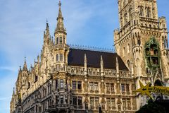 The New Town Hall at Marienplatz in Munich, Bavaria, Germany. The New Town Hall, is a town hall at the northern part of Marienplatz in Munich, Bavaria, Germany stock photography