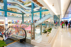 New Town Plaza shopping mall. HONG KONG - CIRCA JANUARY, 2016: inside of New Town Plaza shopping mall. New Town Plaza is a shopping mall in the town centre of Royalty Free Stock Photo
