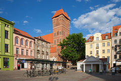 New Town Square in Torun. New Town Square (Polish: Rynek Nowomiejski) in Torun, Poland, Church of St. Jacob in the middle Stock Images