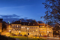 New Town in Warsaw at Night Stock Image